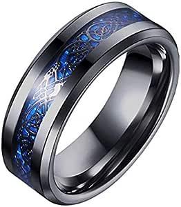 8mm Carbon Fiber Black Celtic Dragon Ring For Men Beveled Edges Wedding Band
