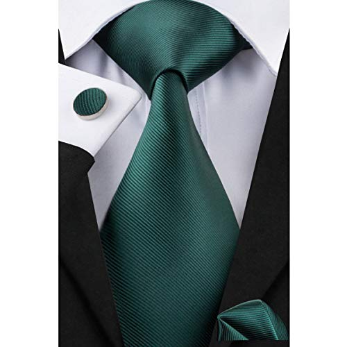 Dubulle Deep Green Mens Tie Silk Necktie and Hanky Pocket Square Cufflinks Set Handkerchief