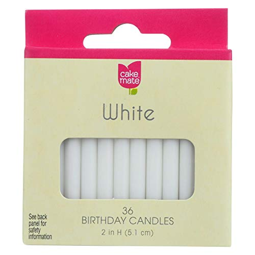 Cake Mate Round White Birthday Candle, 2 x 3/16 inch - 36 per Pack - 12 Packs per case. ()