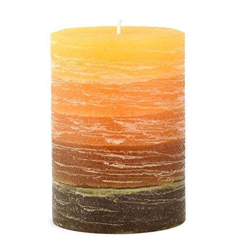 "Nordic Candle - Layered Pillar Candle - 3x4"" Orange to Brown - Unscented ()"