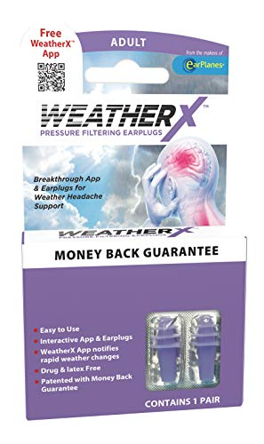 WeatherX Headache Prevention– Pressure Filtering Earplug for Shifts in Barometric Weather Pressure, Download Free Alert app (Regular 1 PK)
