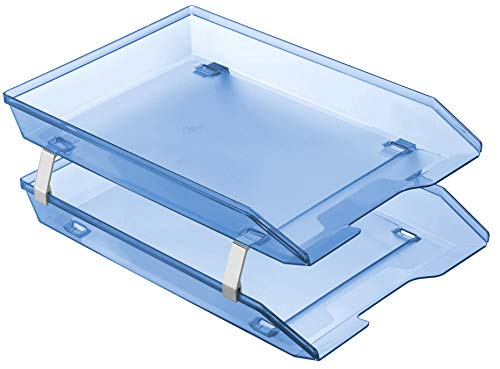 - Acrimet Facility 2 Tier Letter Tray Frontal Plastic Desktop File Organizer (Clear Blue Color)