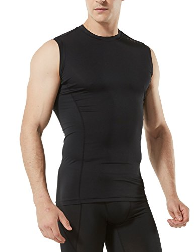 TSLA Men's Muscle Tank Sleeveless Compression Baselayer, Round Neck(mua05) - Black, Small