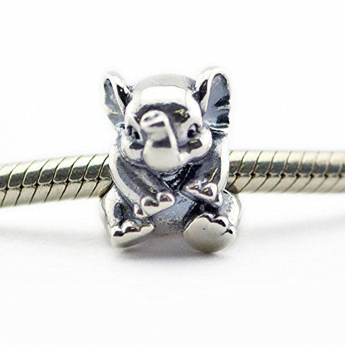 925 Sterling Silver Lucky Elephant Charm Bead Fit Europea...