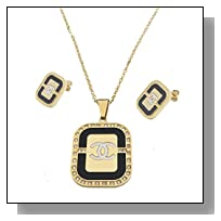 Think Positive Women's Stainless Steel Fashion Jewelry Sets Necklace Pendant Earrings with Rhinestones Black Enameled Gold Plating