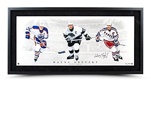Wayne Gretzky Signed Triple Threat 36x15 Photo Collage, Framed and Ltd Ed /199 - Framed Ltd Ed
