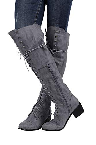 Knee Retro Lace Chunky Grey Block Boots High Women Heel Ivay Shoes Riding Up 0pWUq5w