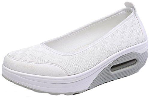 NEWZCERS Deslizamiento-en los zapatos suaves de la plataforma del verano simple respirable de las mujeres solamente Blanco