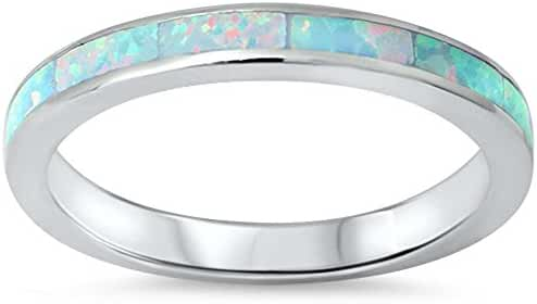Lab Created White Opal Band .925 Sterling Silver Ring sizes 4-12