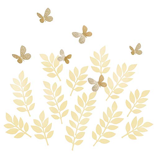 Paper Flower Stickers - Ling's moment Paper Leaves Vines Butterflies Assorted, 24pcs Fake Shimmer Ivory Leaf & Glitter Butterfly, Paper Flower Decorations for Crafts Wall Baby Nursery Shower Wedding Birthday Photo Backdrop