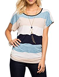 YACUN Women's Casual Stripes Short Sleeve T-Shirt Tops
