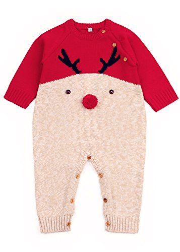 Angekids Baby Winter Sweater Christmas Theme Deer Pattern Two Colors Infant Romper (6-12M(Tag80), - Baby Wool Sweater Beautiful