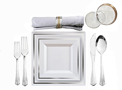 White Wedding Collection - Imperial Collection Disposable Plastic Tableware | 80 White Silver Square Dinnerware & 160 Silver Cutlery Combo | Excellent for Weddings, Bridal Showers & More | 8 Inch & 10.5 Inch Dinner Plates