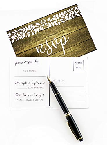 Rsvp Cards For Wedding Invitation 50 4x6 Rsvps Rustic Wood White