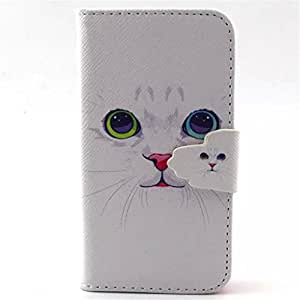 4S Case,iPhone 4S Case,Gift_Source Brand [White Cat] [Wallet Function] [Stand Feature] Magnetic Snap Case Wallet Premium Wallet Case Flip Case Cover Skin for Apple iPhone 4/4S Case