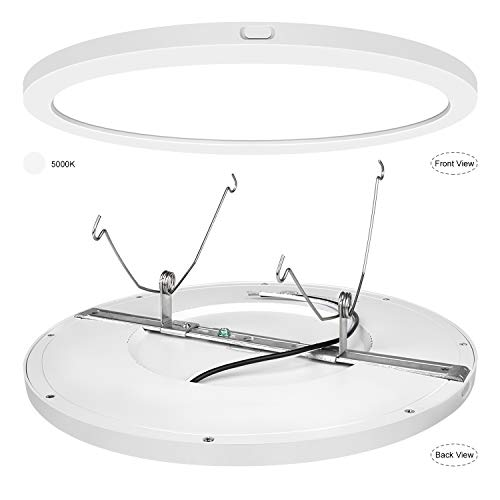 AVANLO Super Slim 0.5 Inch Thickness 12 Inch LED Ceiling Light Fixture, 120V 5000K 1680lm 24W (150W Equivalent), Dimmable, Round, for 3.5-4'' Junction Box, 5-6'' Housing & Surface Mount. 1 Pack