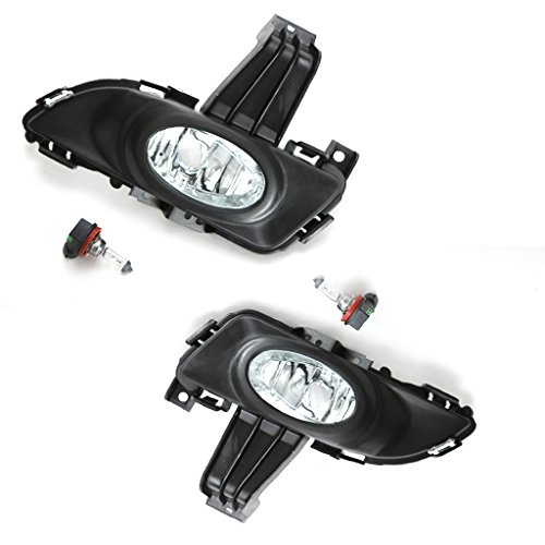 LEDIN For 2004 2005 2006 MAZDA 3 Sedan 4DR Clear Lens Fog Light Assembly w/Bezel Switch Wires Bulbs