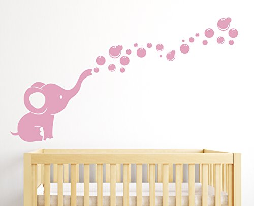 Soft Pink Bubbles (Elephant Bubbles Nursery Wall Decal Room Decor (Soft Pink))