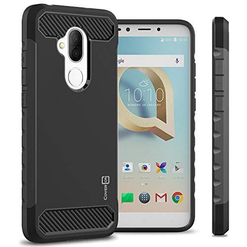 (TMobile REVVL 2 Plus Case, Alcatel 7 Case, CoverON Arc Series Modern Protective Phone Case with Shockproof Protection and Carbon Fiber Accents - Black)
