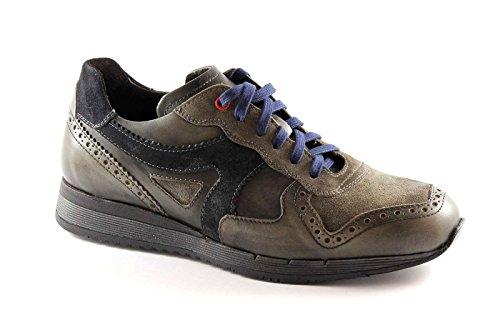 LION 10649 Graphit lederne beiläufige Schuhe Mann Sport Grigio