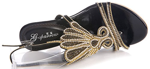 Salabobo Rhinestone Leisure Sandals Fashion Dress Performance Peep Womens Party L037 Roman Black Job Work Shoes Glaring Stilettos Wedding heeled Bridemaid Pretty chunky High Toe Bride Fvxq1rFw8t