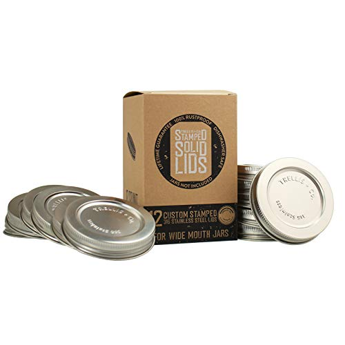 Trellis + Co. 316 Stainless Steel Wide Mouth Mason Jar Lids/Tops | For Pickling, Canning, Storage, Dry Goods - Durable & Rustproof (12 Pack)