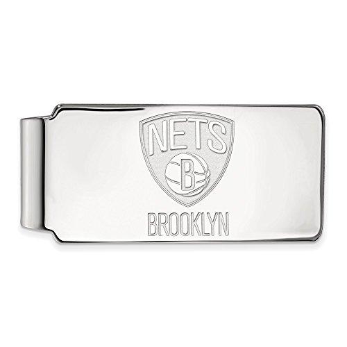 LogoArt NBA Brooklyn Nets Money Clip in 14K White Gold