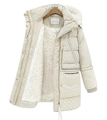 - ACE SHOCK Lamb Wool Coat Women Hooded, Faux Fur Jacket Cotton Padded Parka 2 Colors XS-XL (Off-White, US Size L)