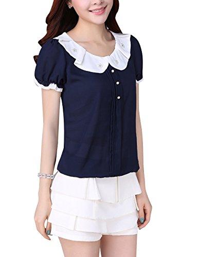 Tanming Women's Peter Pan Collar Short Sleeve Chiffon T-Shirt Blouse Tops (Blue, X-Large)