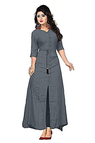9f74ac8f0d SBJ COLLECTIONS Women s Rayon Long Sleeve V-Neck Straight Long Kurta Dress  (Grey