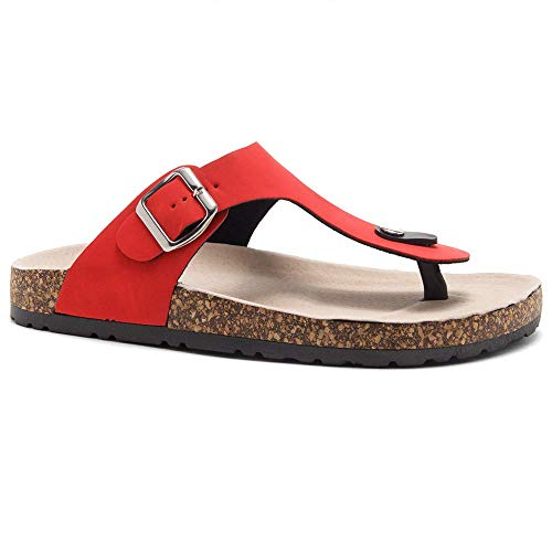 Herstyle Abella Women's Comfort Buckled Slip on Sandal Casual Cork Platform Sandal Flat Open Toe Slide Shoe Red 10.0 ()