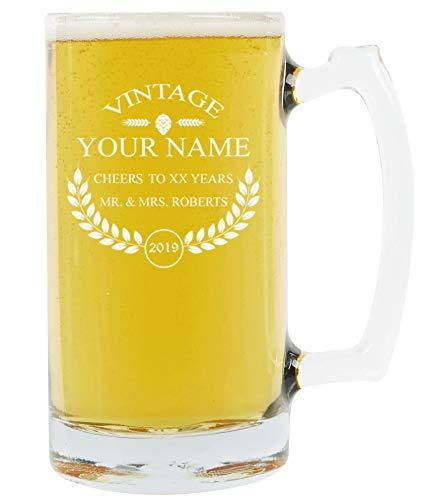 Large Vintage Beer - PersonalizedBeer Glass - Custom Engraved Beer Mug, Pint Glass, Pilsner Glass, Pitcher.   Add your own Engraved Text - Vintage Design (Beer Mug 25oz)