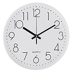 Lucky Monet Modern Wall Clock Classic Wall Clock Non-Ticking Battery Operated 12 Round Clock Arabic Numeral for Home Décor Bedroom Living Room Office Kitchen (White Background)