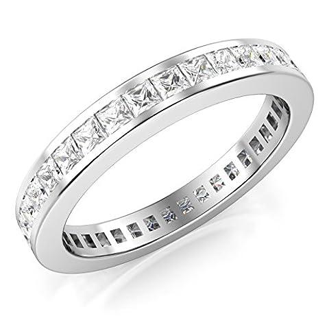 Sz 5 3MM Sterling Silver Princess Cut CZ Eternity Cubic Zirconia Ring (Cubic Zirconia Gold Rings)