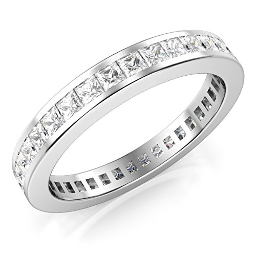 Metal Factory Sz 9 3MM Sterling Silver Princess Cut CZ Eternity Cubic Zirconia Ring ()
