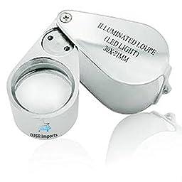 Lupe Magnifier Jewelers Loupe DJSR Imports Loupe - LED Illuminated, 30 x 21mm magnifying glass lupe magnifier loupe loupes case jewelers loop glasses collector