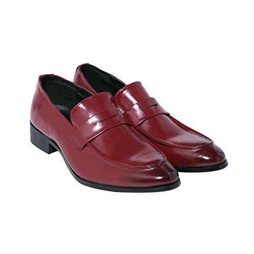 Santimon Mens Penny Mocassino Classico Moderno A Punta Stretta Oxford Slip On Scarpe Da Abito Da Nero Blu Rosso Marrone Rosso