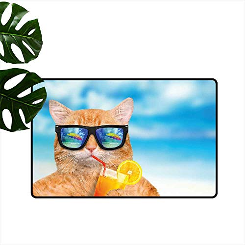 Kitchen Mat Cat Wearing Sunglasses Relaxing Cocktail in The Sea Background Summer Kitty Image Low-Profile Mats for Entry W 20