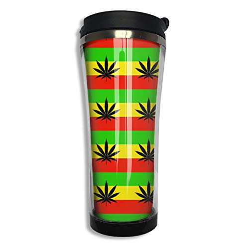 NiYoung Durable Stainless Steel Vacuum Insulated Travel Mug Coffee Cup, Leak Proof Thermal Tumbler for Home Office School - 14 oz, Marijuana Leaf Flags Cannabis Weeds