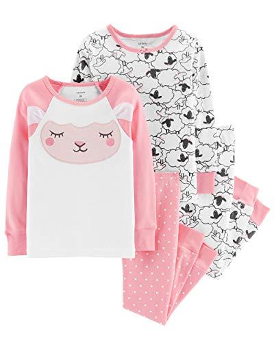Carter's Baby & Toddler Girls' 4-Piece Snug Fit Cotton PJs (3T, Sheep/Pink)
