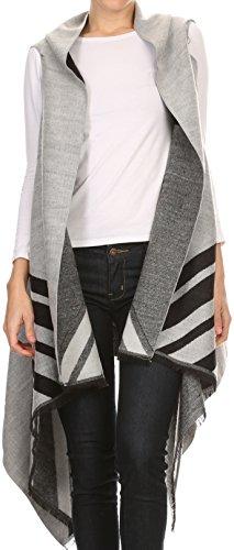 Sakkas 16118 - Janeek Thick Warm Long Tapered Striped Multi Color Block Poncho Cape Wrap - White -