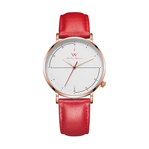 Welly Merck Womens Watch Luxury Minimalist Swiss Quartz Movement Sapphire Crystal Stainless Steel Analog Wrist Watch with Interchangeable Italian Red Leather Strap,5ATM Waterproof