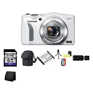 Fujifilm FinePix F770EXR Digital Camera (White) + 8GB SDHC Class 10 Memory Card + Carrying Case + Lithium Ion Rechargeable KLIC-7004 Battery + Table Top Tripod, Lens Cleaning Kit, LCD Protector + USB SDHC Reader + Memory Wallet