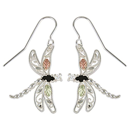 Marquise Onyx and CZ Dragonfly Earrings, Sterling Silver, 12k Green and Rose Gold Black Hills Gold Motif