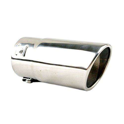 Tritrust Car Muffler Tip - Stainless Steel to give Chrome Effect - To Fit 1.25 to 2.5 inch Exhaust Pipe Diameter - Installation Clamps Included