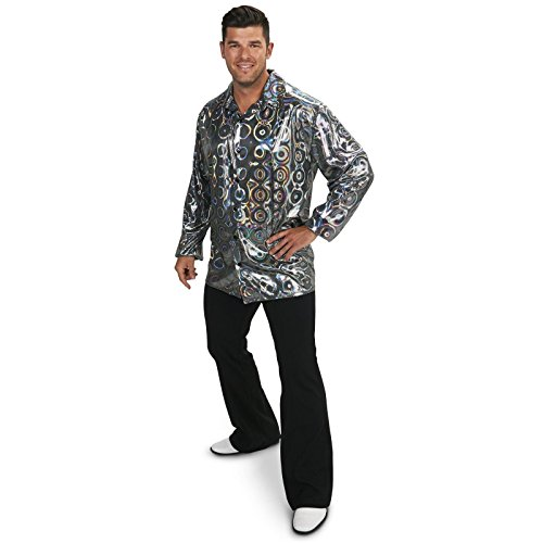 [Silver Disco Shirt Adult Plus Costume 1X] (70s Costumes Men)