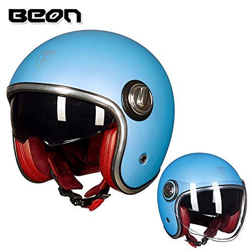 Loyasun Motorbike Helmet Casco Motorcycle Vintage Moto 3/4 Open Face Capacete Biker Retro Scooter Double Visor