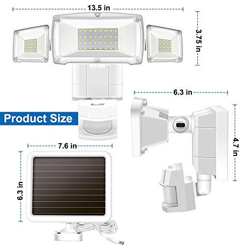 Solar Lights Outdoor, AmeriTop Super Bright LED Solar Motion Sensor Lights with Wide Angle Illumination; 1500LM 5000K, 3 Adjustable Heads, IP65 Waterproof Outdoor Security Lighting by AmeriTop (Image #4)