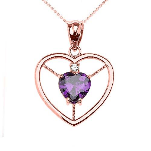 Collier Femme Pendentif Élégant 10 Ct Or Rose Amethyst et Diamant Solitaire Cœur (Livré avec une 45cm Chaîne)