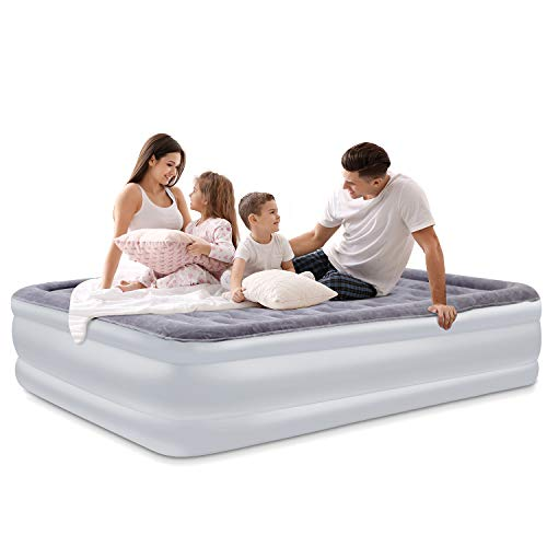SPREEY Air Mattress Air Bed & Built-in Electric Pump, Queen Inflatable Mattress Bed Soft Flocking Layer Portable Equipped Storage Bag (80 x 60 x 22 ()